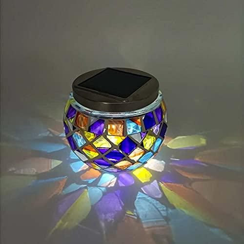 AOSHEN Luz Nocturna De Mosaico De Cristal, Lámpara Solar De Mesa, Luces Solares De Jardín Impermeables para Decoraciones De Exterior E Interior, Jardín, Patio, Fiesta, Patio, Regalo Ideal,I