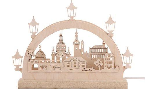 Unbekannt Mini LED Schwibbogen - Dresden - 23 x 15 x 4,5 cm - Original Erzgebirge Schwibbögen - Michael Müller
