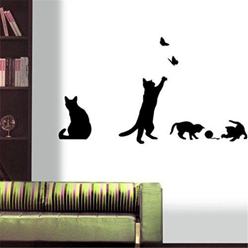bluestercool pegatinas de pared, gatos mariposa pegatinas de pared Arte Mural Adhesivos Papel pintado decoración hogar bricolaje