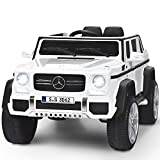 Costzon Ride on Car, Licensed Mercedes-Benz Maybach G650S, 12V Battery Powered Toy w/ 2 Motors, 2.4G Remote Control, 3 Speeds, Bluetooth, Lights, Horn, Music, Truck, Electric Vehicle for Kids (White)