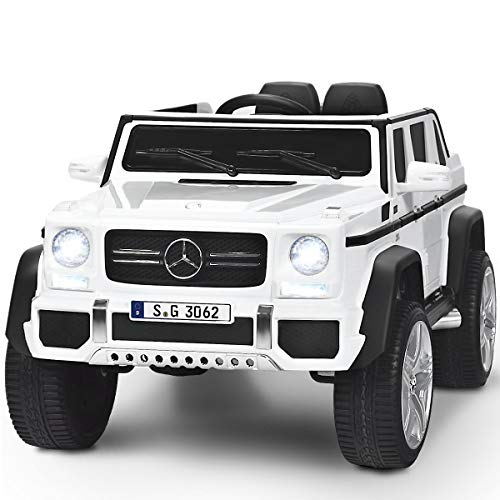 Costzon Ride on Car, Licensed Mercedes-Benz Maybach G650S, 12V Battery Powered Toy w/ 2 Motors, 2.4G Remote Control, 3 Speeds, Lights, Horn, Music, Truck, Electric Vehicle for Kids (White)