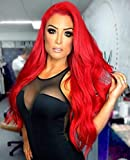Goodly Red Lace Front Wigs for Women Fashion Glueless Long Wavy Wigs Lace Front Natural Looking Synthetic Heat Resist Quality Fiber Red Wigs
