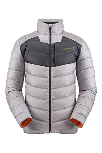 Spyder Men's Timeless Down Jacket – Paneled Puffy Lightweight Full Zip, Small, Alloy