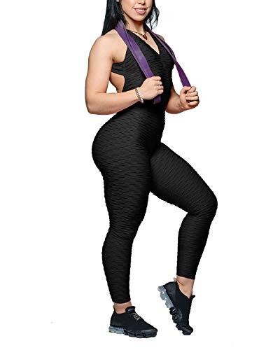 YOFIT Womens Butt Lift Yoga Jumpsuit Sleeveless Backless Sport Bandage Romper Playsuit Black M