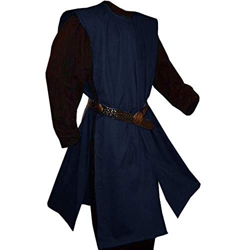 Fueri Herren Mittelalter Tunika Karneval Waffenrock Kittel Cosplay Ritter Kostüm LARP Viktorianisch Wikinger Kleidung Ohne Gürtel
