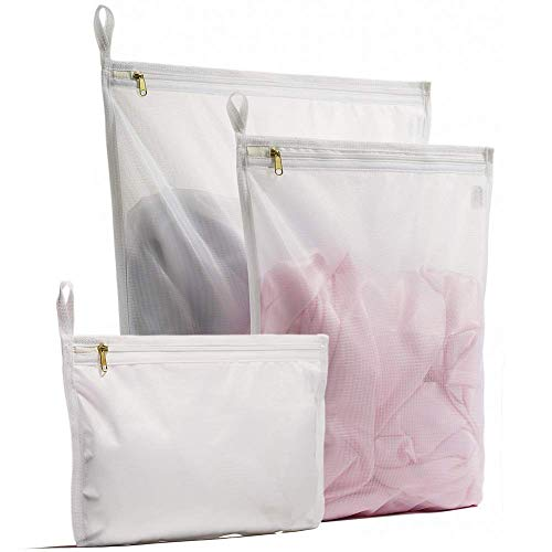 YOKELLMUX 洗濯ネット ランドリーネット 洗濯袋 洗濯バッグ ブラジャー/下着/Tシャツなど適用 3枚入れ 角型/型崩れ防止/傷み防止 細かい網目 丈夫 旅行収納袋 家庭用