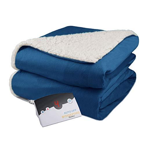 Biddeford Velour Sherpa Electric Heated Warming Blanket Full Denim Blue Washable Auto Shut Off 10 Heat Settings