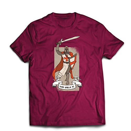 lepni.me Camisetas Hombre ¡Dios lo Quiere! El Caballero Templario, Cruz Roja Cruzada (X-Large Borgoña Multicolor)