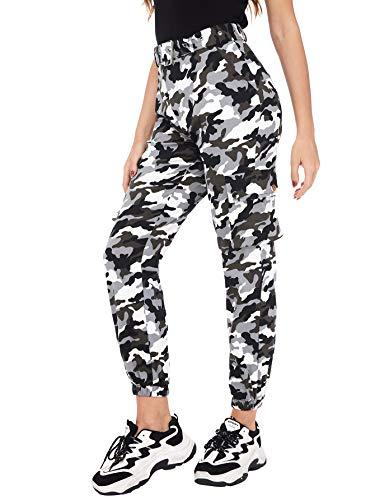 SOLY HUX Damen Sport Sweatshose Camouflage Gürtel Hosen Seiten Taschen Reißverschluss Laufhose Bunt Hosen Sporthose Capris Jogger Pants Farbe #3 M