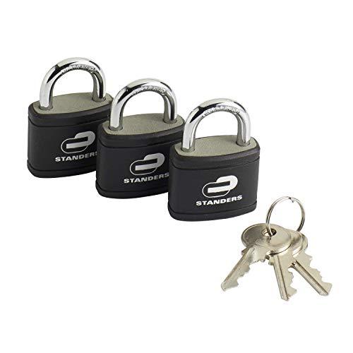 STANDERS - 3er-Set Vorhängeschlösser mit Schlüssel - Eisen - l.35 mm
