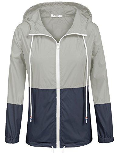 Unibelle Damen Windbreaker Jacke Regenmantel Übergangsjacke mit Kapuze Winddicht Grau S