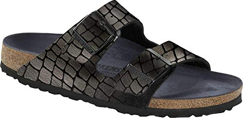 Birkenstock Unisex Arizona Glossy Gator Black Birko-Flor, 39 N EU