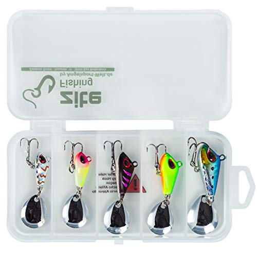 Zite Fishing Spin Jig Set - Spinner-Bait Barsch-Köder Zander Angel-Köder - 5 STK Bleikopf-Spinner 6-17g in Box