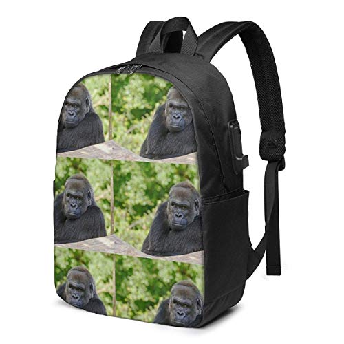 Gorilla Atitude and Exprion USB School Backpack Large Capacity Canvas Satchel Casual Travel Daypack for Adult Teen Women Men 17in