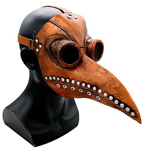 Carolilly Plague Doctor Mask, Halloween Scary Maske Pest-Maske Doktor Arzt Kopfmaske Party Fasching Cosplay Venedig-Maske Karneval - Lange Nase Vogel Schnabel Steampunk Maske(Pu Leder) (One Size, 1)