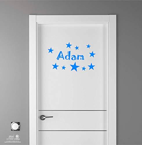 Artstickers Adhesivo Infantil para decoración de Muebles, Puertas, Paredes.Nombre: Adam, en Color Azul Nombre de 20cm + Kit de 10 Estrellas para Libre colocación.