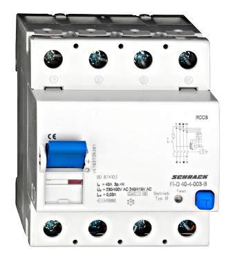 Allstromsensitiver FI-Schalter 40A,4-polig,30mA, Typ B(fq),G