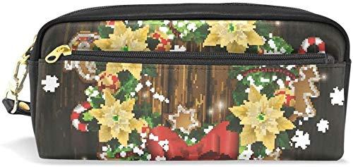 Portamonete Portapenne con ghirlanda natalizia, cancelleria, borsa cosmetica, portafoglio grande capacità, impermeabile, donna