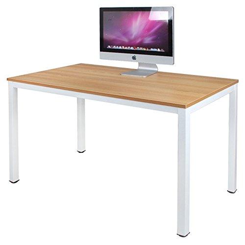 DlandHome 120 x 60 cm Computertisch Schreibtisch, anständig und Stabil, Holz, Moderner Bürotisch Arbeitstisch PC Laptop Tisch für Büroarbeit und Hausaufgaben, Teak & Weiß