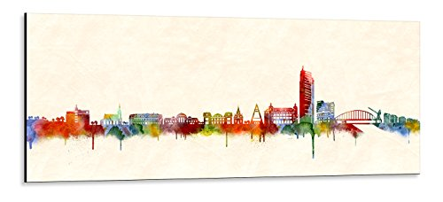 Acrylglas Wandbild Offenbach Skyline/Panorama - Acrylglas mit Alu-dibond-Aufhängesystem - Farbe (div. Größen) - Kunst Druck auf Acrylglas 30x90cm