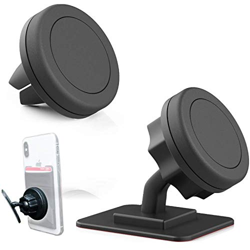 New 2-Pack of The Best Magnetic Car Mounts – 1 Air Vent + 1 Adhesive Swivel – Ultra Strong Magnets for Dash – Bonus Stick-on Card Wallet – Universal: Any Phone, iPhone Xs Max X Xr 8 7 6 Plus, Samsung