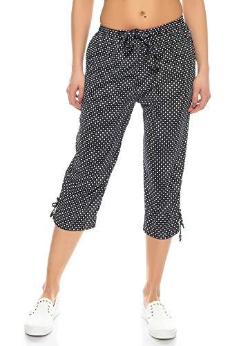 Kendindza Damen Sommer Capri | Kurze 3/4 Schlupfhose zum binden | Uni-Farben (Schwarz, XL)