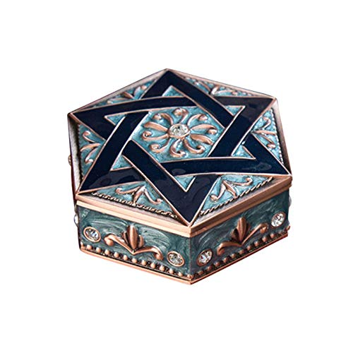 GCDN Caja de joyería creativa de metal de seis puntas, estuche de joyería, pequeño cofre de joyería, caja de baratija, caja de joyería para mujer para viajes en casa