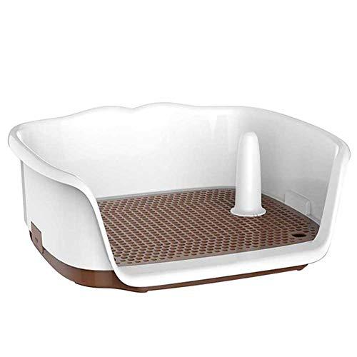 DAN Hundetoilette/Welpentoilette, Toilette für Hunde Trainingsunterlage mit Zaun und Induzierte Säule, für Großer/mittlerer Hund,Weiß