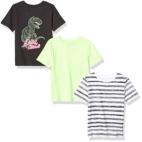 Spotted Zebra Boys' Kids Short-Sleeve T-Shirts, 3-Pack Neon Dino, Small