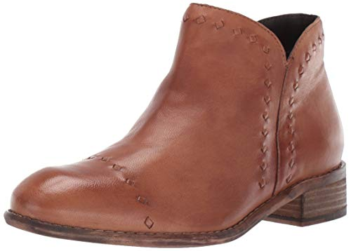 Skechers Women's RUE-Dominique-Smooth Oiled Leather Upper Zipper Side Ankle Boot, Tan, 7 M US