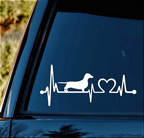 K1025 Dachshund Heartbeat Lifeline Monitor Dog Decal Sticker