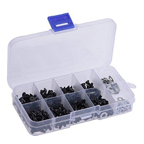 Dilwe Tornillos de Cabeza Plana y Redonda 6mm 8mm 10mm 12mm M3 M4 Arandela Plana Conjunto RC Accesorios con Caja para 1/10 HSP RC Coche(340pcs/box)