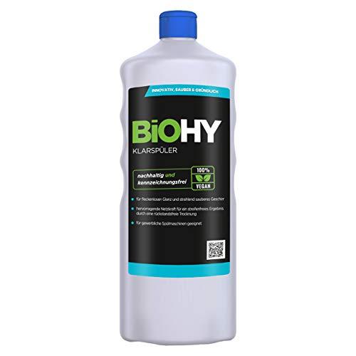 BiOHY Abrillantador (1 botella de 1 litro) | Apto para todos los lavavajillas | para un brillo inmejorable en los vasos y platos sin manchas de agua (Klarspüler)