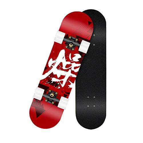 Skateboard Cruiser 7 Capas Maple Double Kick Monopatin Skateboard Nino Concave Skate Board Games para Adulto Niños Niño Chica Niia Longboards Completos Principiantes (Color : E)