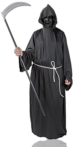 Henker Kutte Kapuze Grim-Reaper Kostüm Robe Mönch-Kutte schwarz Halloween-Kostüm Tod (Gr. 54/56) Umhang Herren