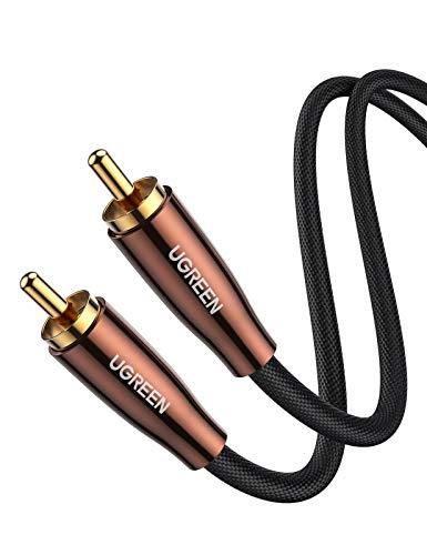 UGREEN Subwoofer Kabel RCA auf RCA Audio Kabel Digitales Koaxialkabel Mono Cinch Kabel für Amplifier, Stereoanlage, Hi-Fi Anlagen, Tonverstärker, Heimkino usw. 1M