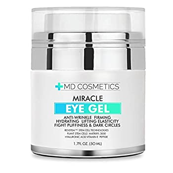 NEW FORMULA FOR 2018! MD Cosmetics Eye Gel for Dark Circles Puffiness Wrinkles and Bags.