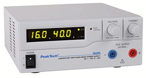 PeakTech 1525 – Fuente de alimentación DC 1-16V / 0-40A con pantalla LED, fuentes de alimentación de conmutación DC, 3 preajustes paracorriente y voltaje, protección contra sobrecarga 200~240 V AC