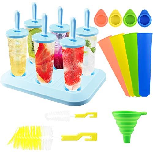 FHzytg 6 Stück Eisformen EIS am Stiel Silikon, EIS am Stiel Formen Set mit Reinigungsbürste und Falttrichter, EIS Stiel Popsicle Form Baby, Eisformen EIS am Stiel, Eisförmchen mit Stiel für Kinder