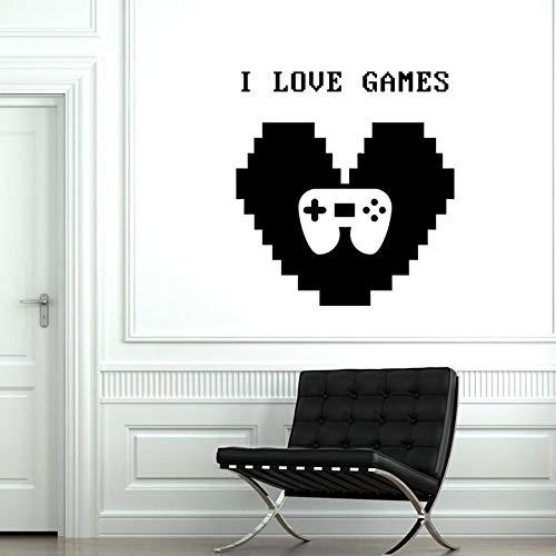 HGFDHG Me encantan los Juegos calcomanías de Pared Juego Cita corazón Signo Vinilo Pegatinas de Pared Controlador de Gamepad Arte Mural para niños Dormitorio Sala de Juegos