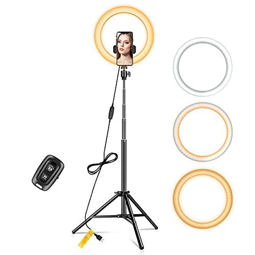 WKZYLKK Anillo de luz de 10'con Soporte de trípode extendido de 67' y Soporte para teléfono para Videos de Youtube,Anillo de luz LED Regulable para cámara,Video,Maquillaje,fotografía para Selfies