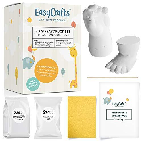 3D Abdruck Gips Set für Babys und Kleinkinder | EasyCrafts® | Natürliche Materialien | Abformmasse für Hände und Füße | Für einzigartige Erinnerungen