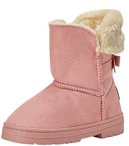 bebe Girls' Faux Fur Lined Winter Boots with Back Bow (Toddler/Little Kid/Big Kid) (13 Little Kid, Blush)'