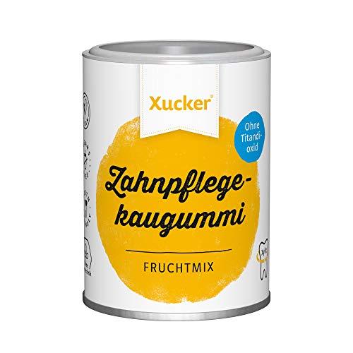 100 g Xucker Xylit-Kaugummis ohne TiO2, Frucht | Zahnpflege mit Xucker | kann zur Zahnmineralisierung beitragen | zuckerfrei [ca. 67 Stk.]