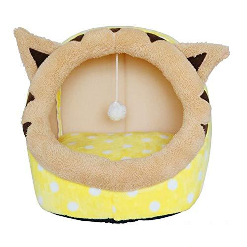 MM bedden Kat Bed Huis, Kat Grot, Kat Nest, kat Mat Chic/Interessant/Bijzondere Kat Tent Bed, Zelfverwarmend Comfortabel Bed Kat Huisdier, M, Geel