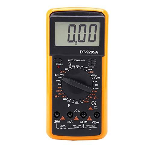 Akozon Digital Multimeter DT9205A LCD-Display Handheld-Digital-Multimeter AC/DC-Strom Spannungsfestigkeit Kapazität HFE DiodeTester 9V batteriebetrieben