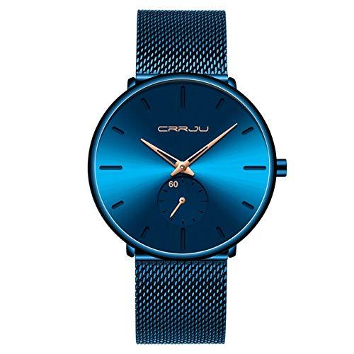AMZSELLER Reloj Moda Relojes para Hombre Marca Reloj de Cuarzo Hombres Casual Slim Mesh Acero Impermeable Reloj Deportivo (Color : Blue Rose)