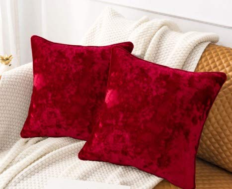 HORIMOTE HOME Pack of 2 Crushed Velvet Red Square Cushion Covers for Sofa Couch Chair, Christmas Decorative Cushions Pillow Covers for Livingroom Bed Car 45x45cm