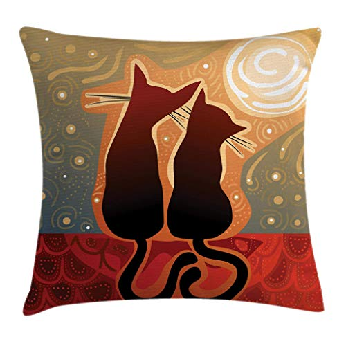 Animal Throw Pillow Cushion Cover, Female and Male Cats in Love Watching Moon Luna on Starry Sky Print, Decorative Square Accent Pillow Case 18inch*18inch