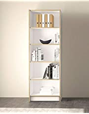 TVilum Section Wooden Bookcase with 5 Shelves, White/Brown